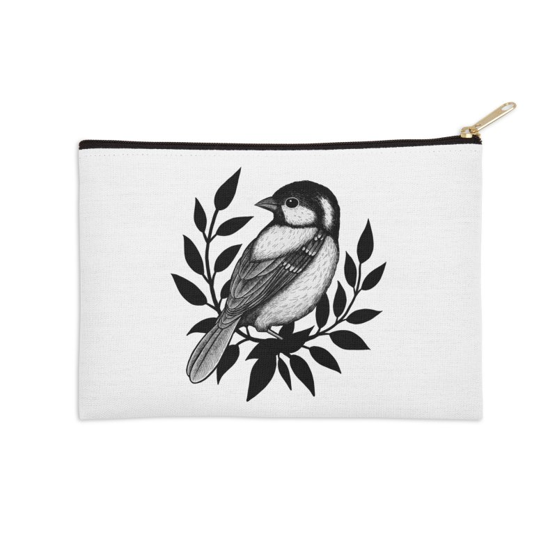 Coal Tit Accessories Zip Pouch by Thistle Moon Artist Shop