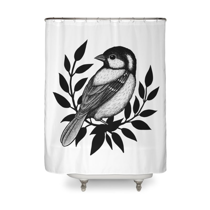 Coal Tit Home Shower Curtain by Thistle Moon Artist Shop