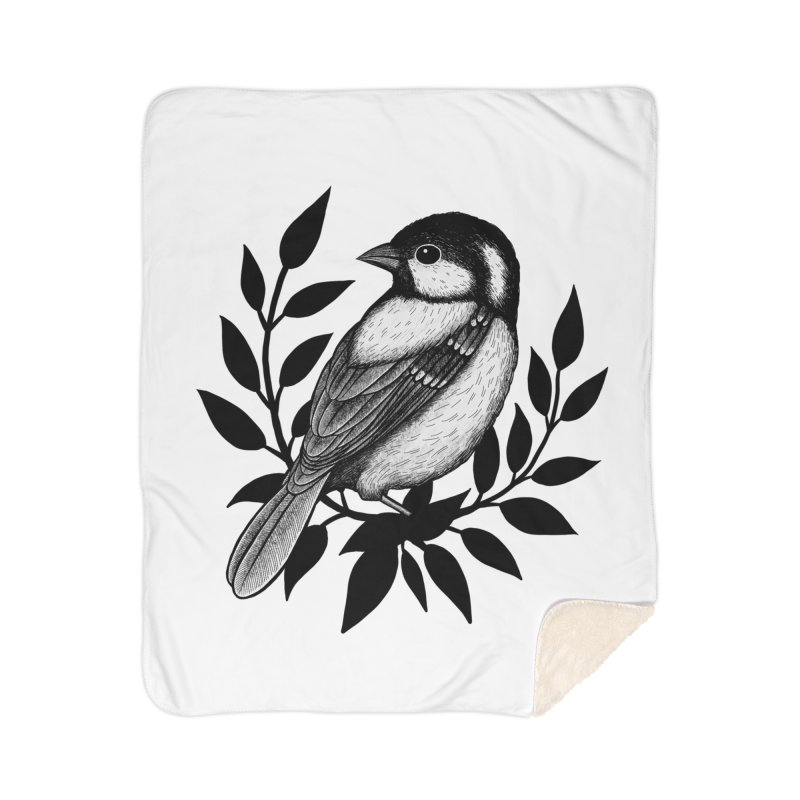 Coal Tit Home Sherpa Blanket Blanket by Thistle Moon Artist Shop
