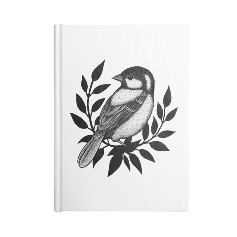 Coal Tit Accessories Lined Journal Notebook by Thistle Moon Artist Shop