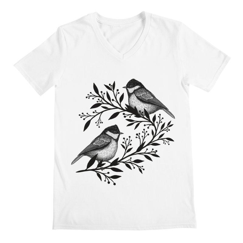 Little Birds Men's Regular V-Neck by Thistle Moon Artist Shop