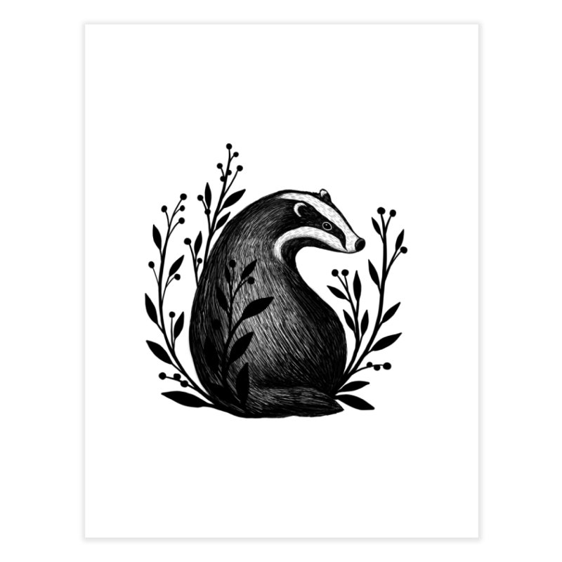 Botanical Badger Home Fine Art Print by Thistle Moon Artist Shop