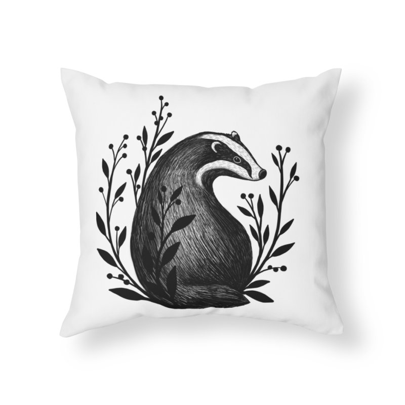 Botanical Badger Home Throw Pillow by Thistle Moon Artist Shop