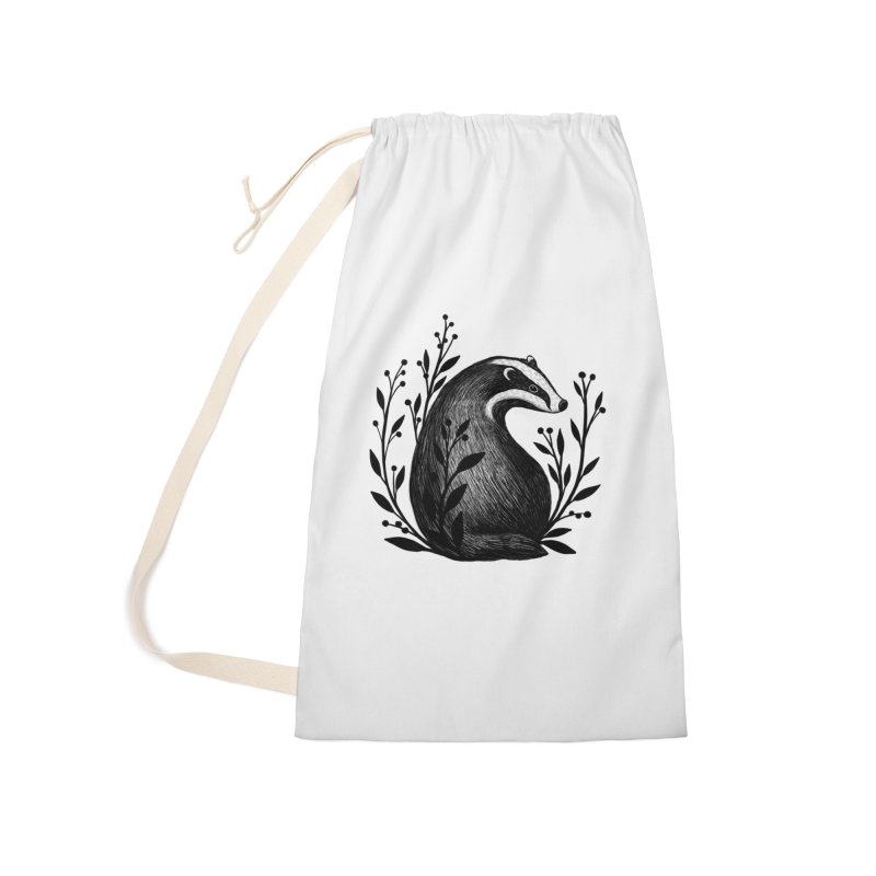 Botanical Badger Accessories Laundry Bag Bag by Thistle Moon Artist Shop