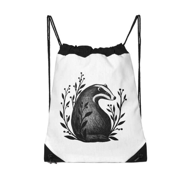 Botanical Badger Accessories Drawstring Bag Bag by Thistle Moon Artist Shop