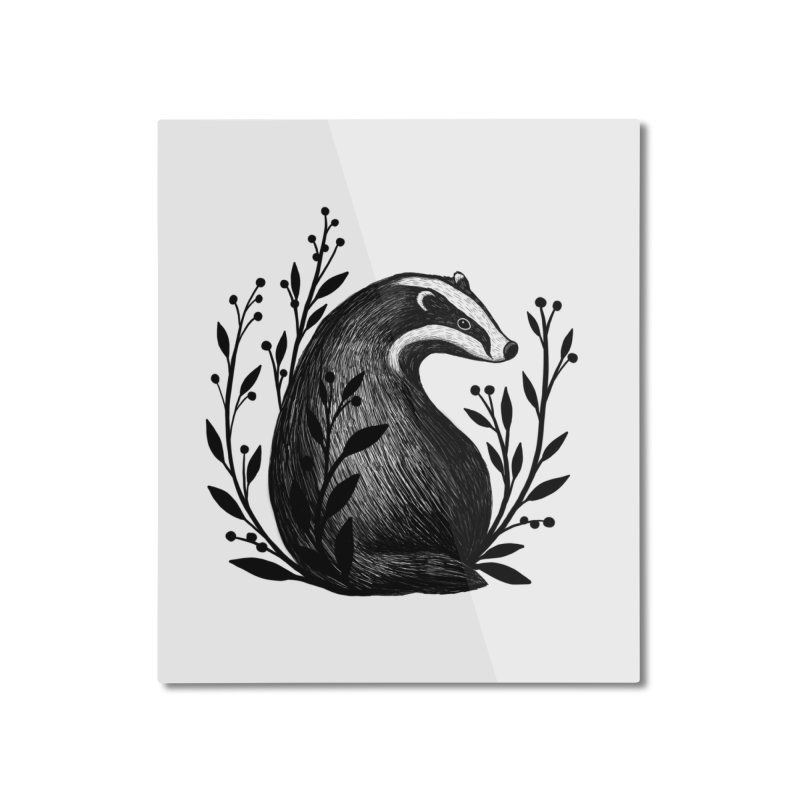 Botanical Badger Home Mounted Aluminum Print by Thistle Moon Artist Shop