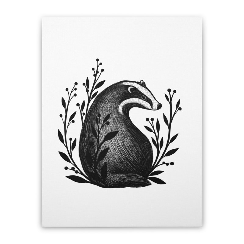 Botanical Badger Home Stretched Canvas by Thistle Moon Artist Shop