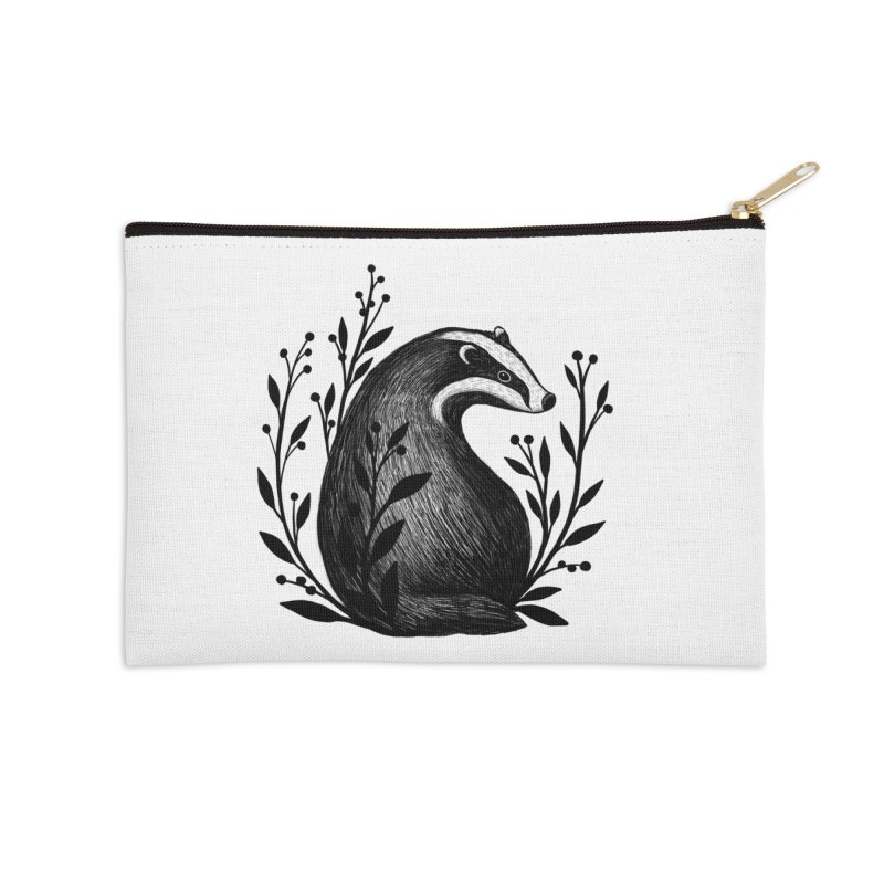 Botanical Badger Accessories Zip Pouch by Thistle Moon Artist Shop