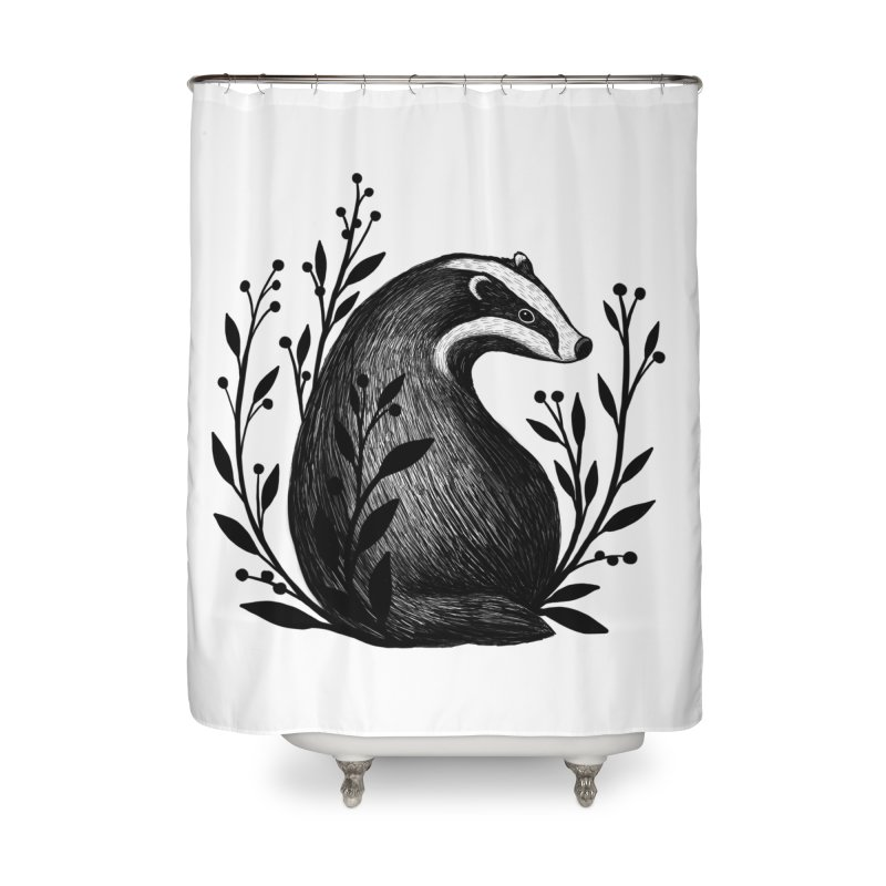 Botanical Badger Home Shower Curtain by Thistle Moon Artist Shop