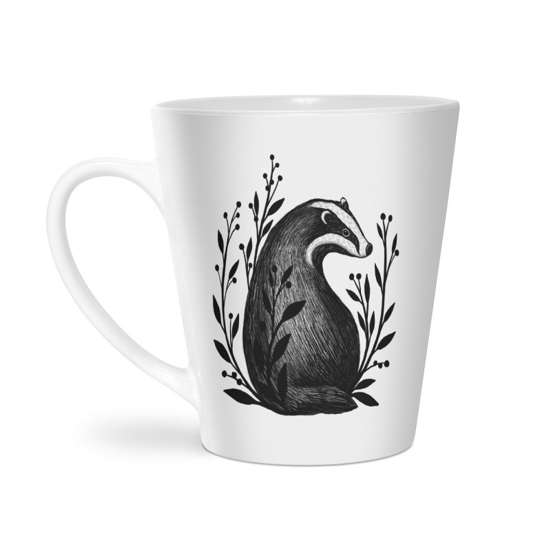 Botanical Badger Accessories Latte Mug by Thistle Moon Artist Shop
