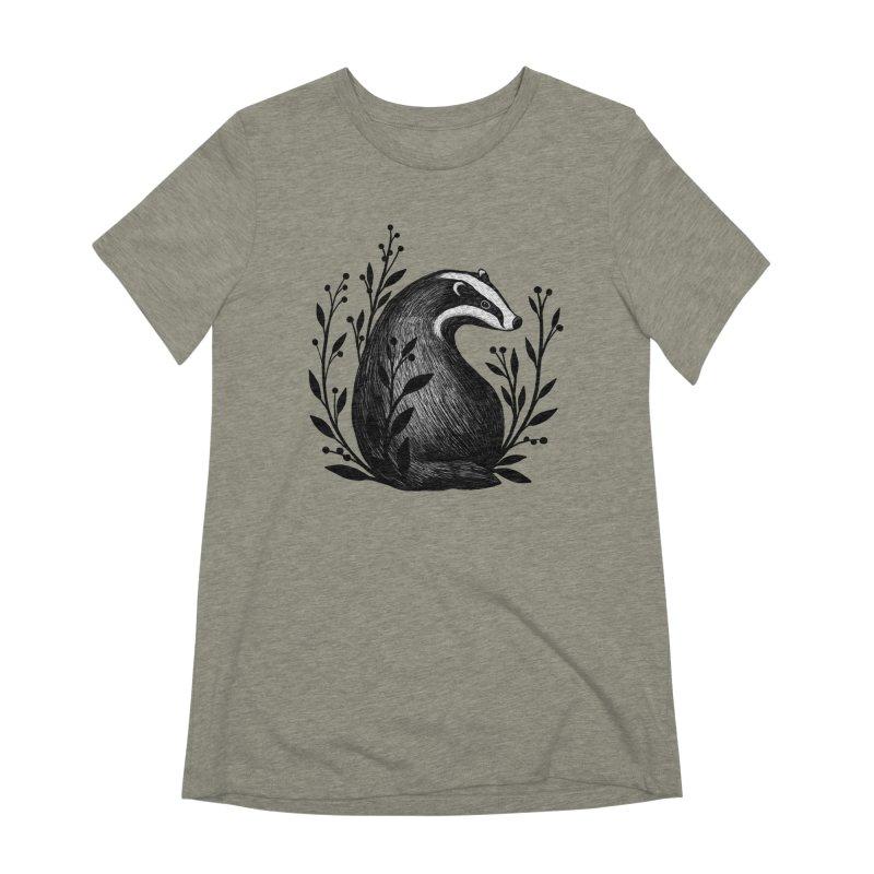 Botanical Badger Women's Extra Soft T-Shirt by Thistle Moon Artist Shop