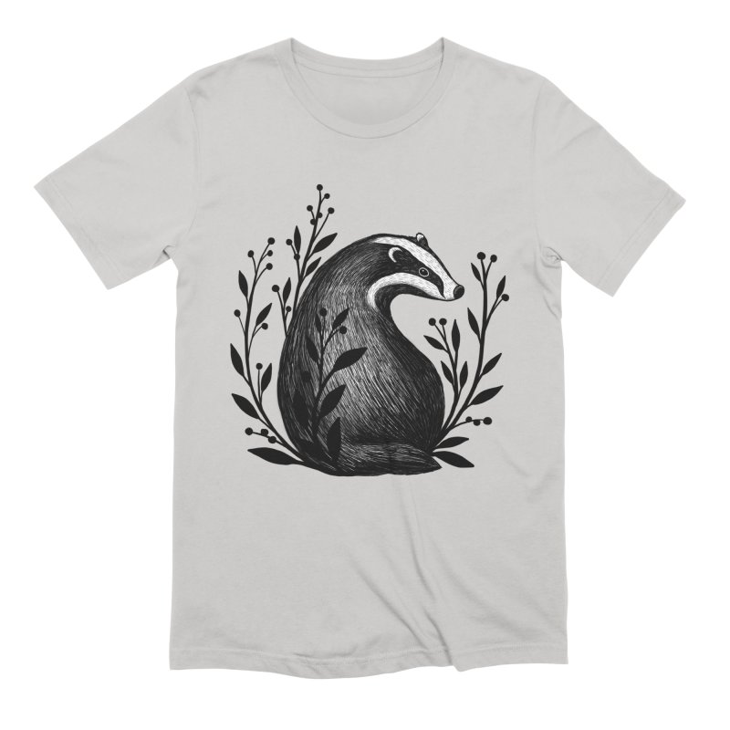 Botanical Badger Men's Extra Soft T-Shirt by Thistle Moon Artist Shop