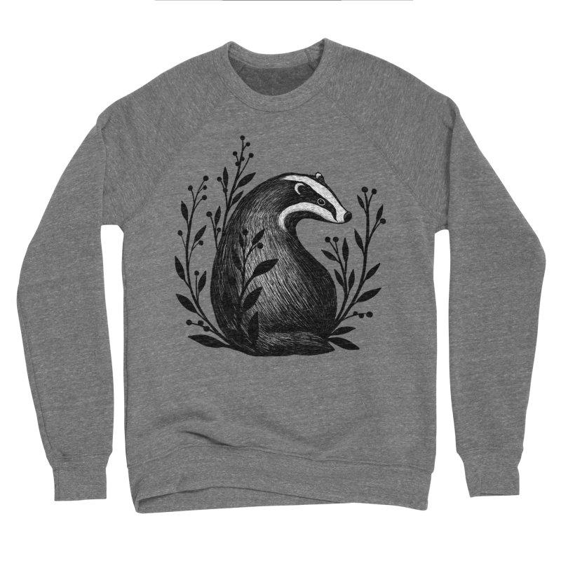 Botanical Badger Men's Sponge Fleece Sweatshirt by Thistle Moon Artist Shop