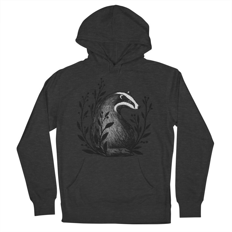 Botanical Badger Women's French Terry Pullover Hoody by Thistle Moon Artist Shop
