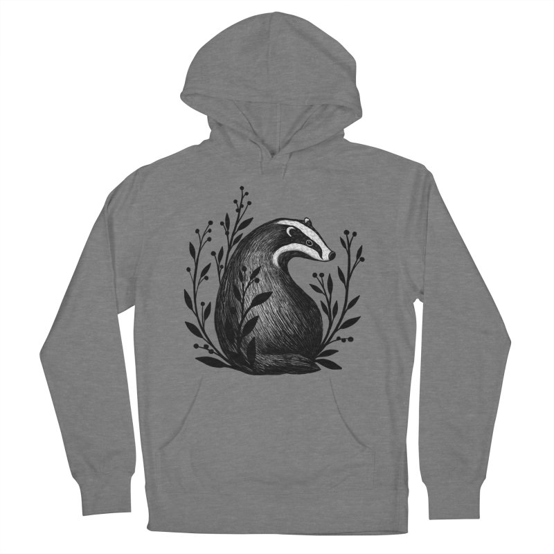 Botanical Badger Men's French Terry Pullover Hoody by Thistle Moon Artist Shop