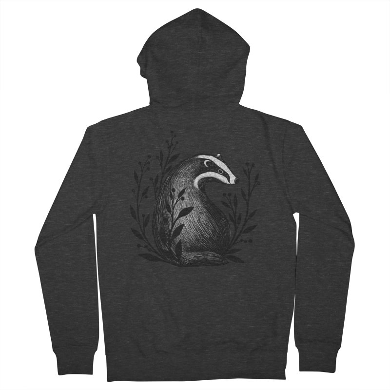 Botanical Badger Men's French Terry Zip-Up Hoody by Thistle Moon Artist Shop