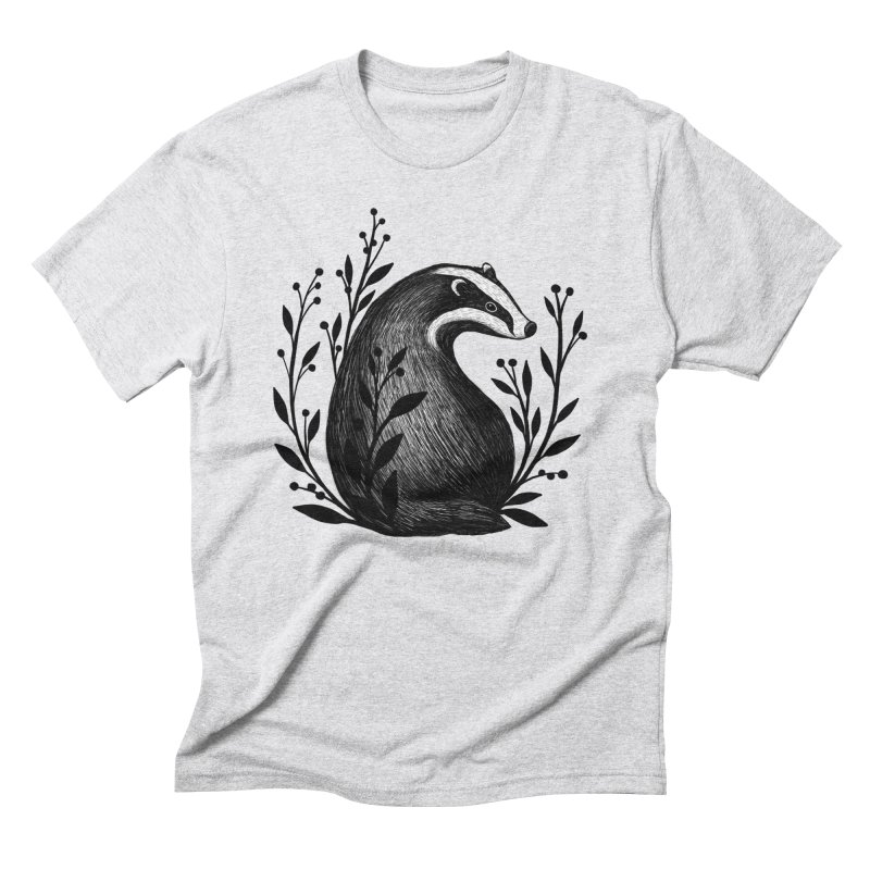 Botanical Badger Men's Triblend T-Shirt by Thistle Moon Artist Shop