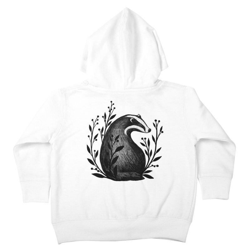 Botanical Badger Kids Toddler Zip-Up Hoody by Thistle Moon Artist Shop