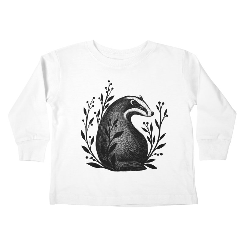 Botanical Badger Kids Toddler Longsleeve T-Shirt by Thistle Moon Artist Shop
