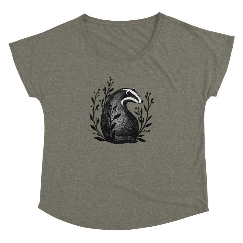 Botanical Badger Women's Dolman Scoop Neck by Thistle Moon Artist Shop
