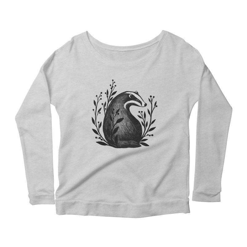 Botanical Badger Women's Scoop Neck Longsleeve T-Shirt by Thistle Moon Artist Shop