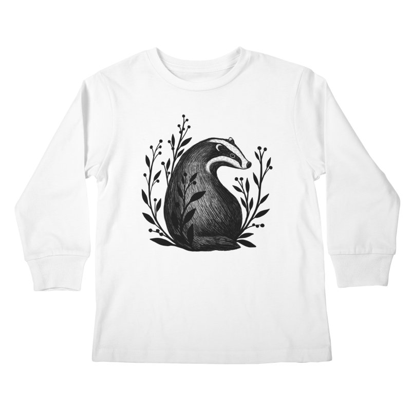 Botanical Badger Kids Longsleeve T-Shirt by Thistle Moon Artist Shop