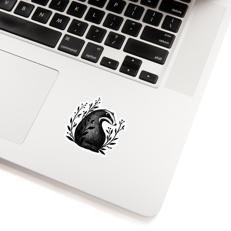 Botanical Badger Accessories Sticker by Thistle Moon Artist Shop