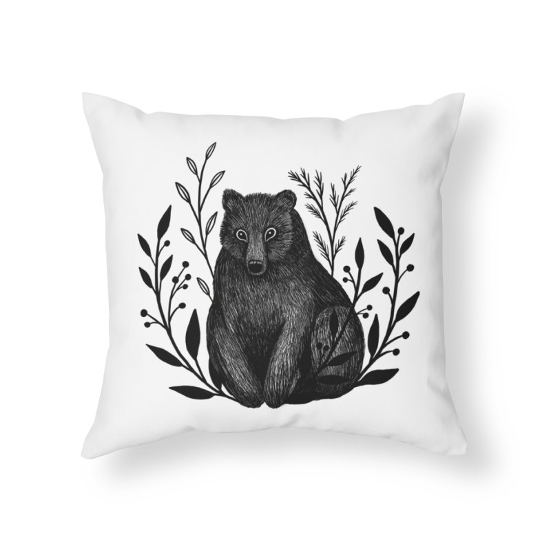 Botanical Bear Home Throw Pillow by Thistle Moon Artist Shop