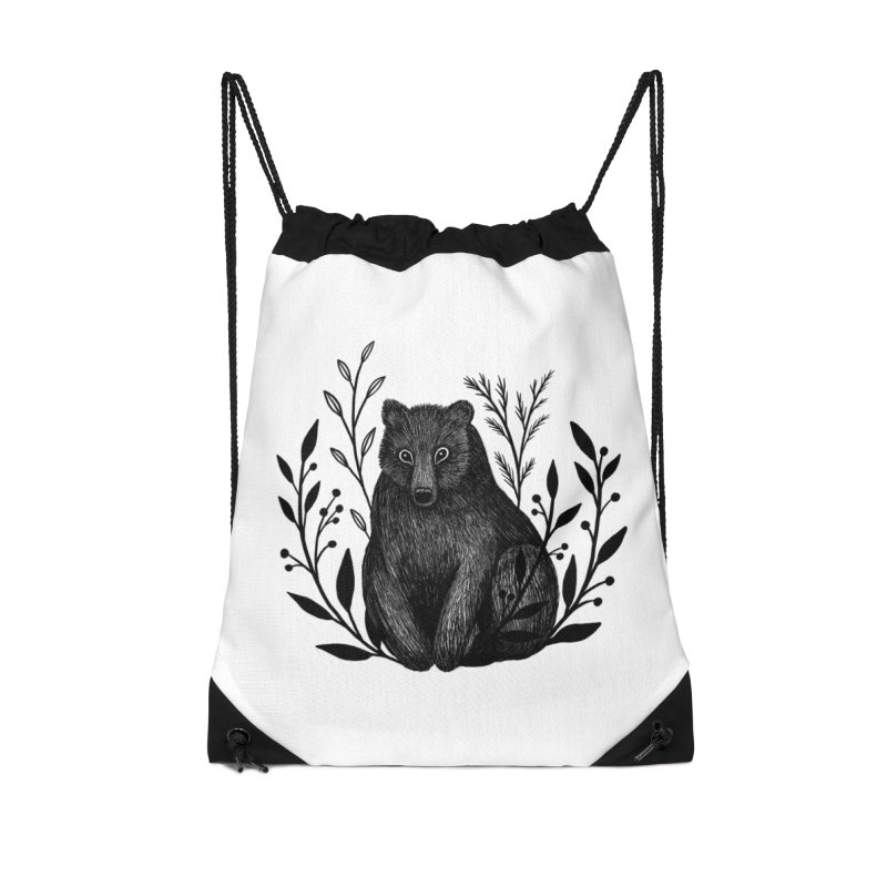 Botanical Bear Accessories Drawstring Bag Bag by Thistle Moon Artist Shop