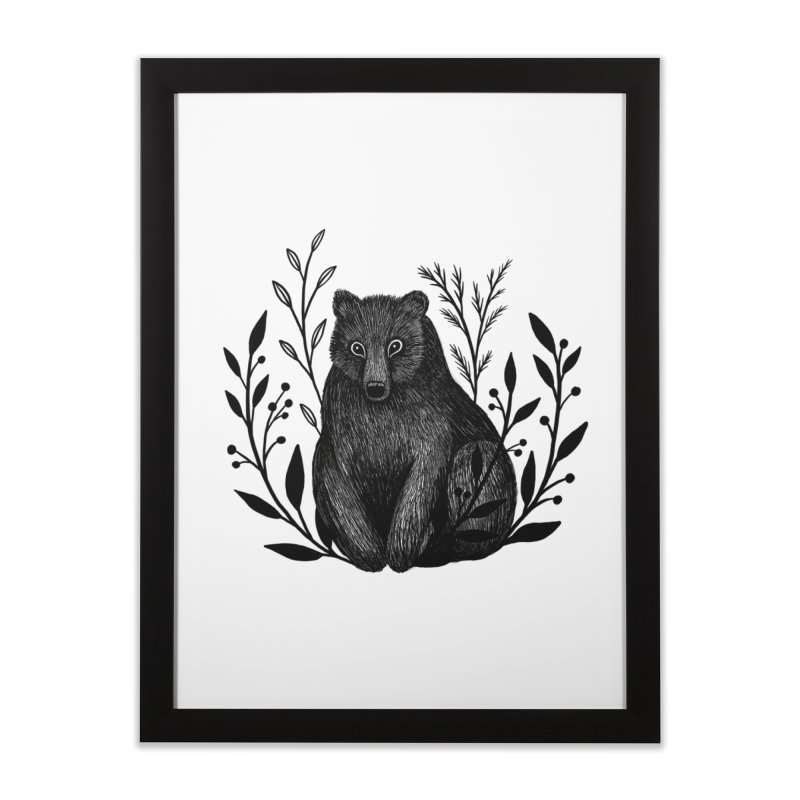 Botanical Bear Home Framed Fine Art Print by Thistle Moon Artist Shop