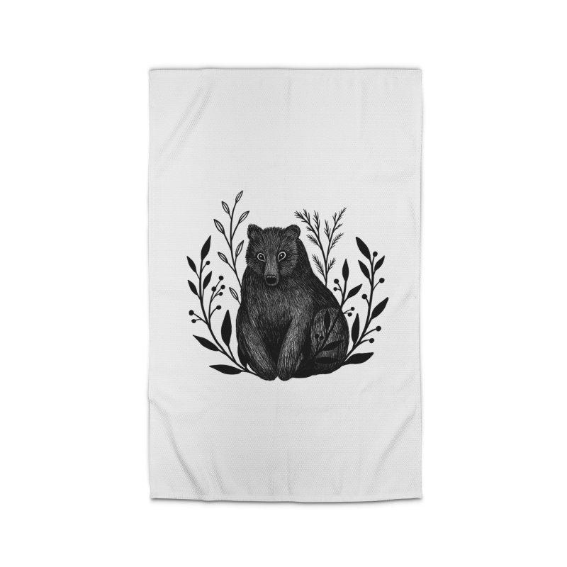 Botanical Bear Home Rug by Thistle Moon Artist Shop