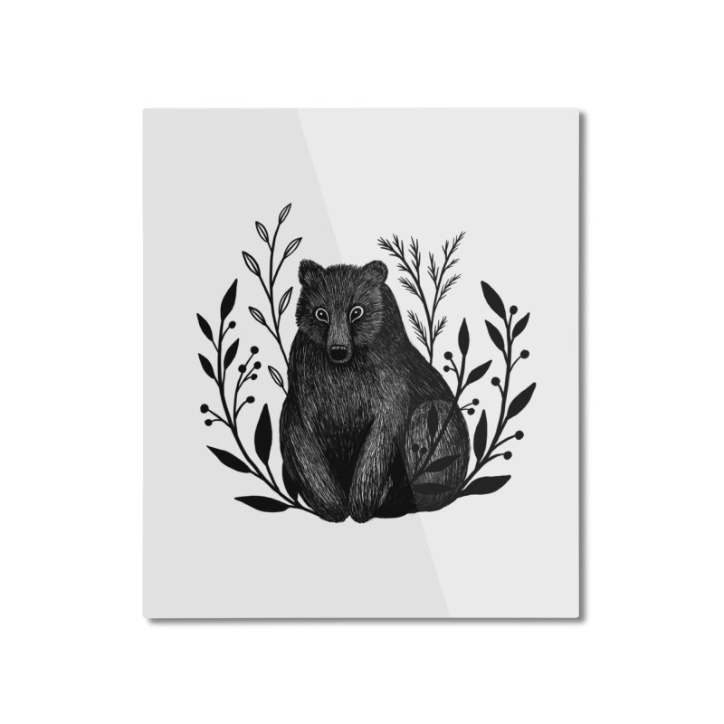Botanical Bear Home Mounted Aluminum Print by Thistle Moon Artist Shop