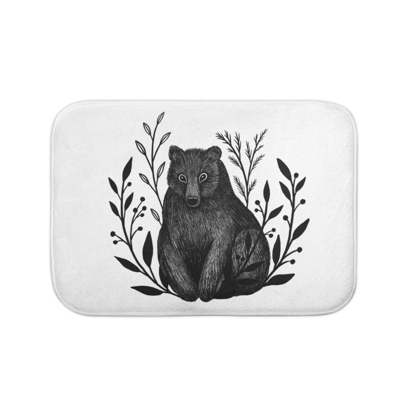 Botanical Bear Home Bath Mat by Thistle Moon Artist Shop