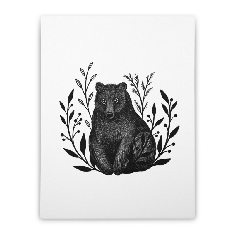 Botanical Bear Home Stretched Canvas by Thistle Moon Artist Shop