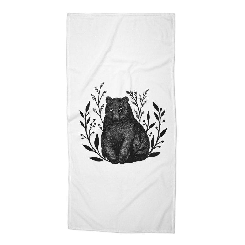 Botanical Bear Accessories Beach Towel by Thistle Moon Artist Shop