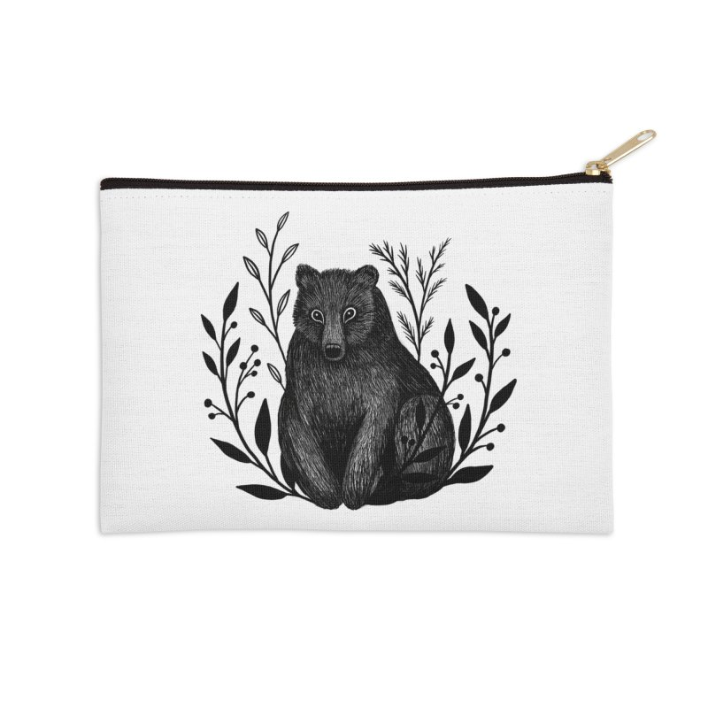 Botanical Bear Accessories Zip Pouch by Thistle Moon Artist Shop