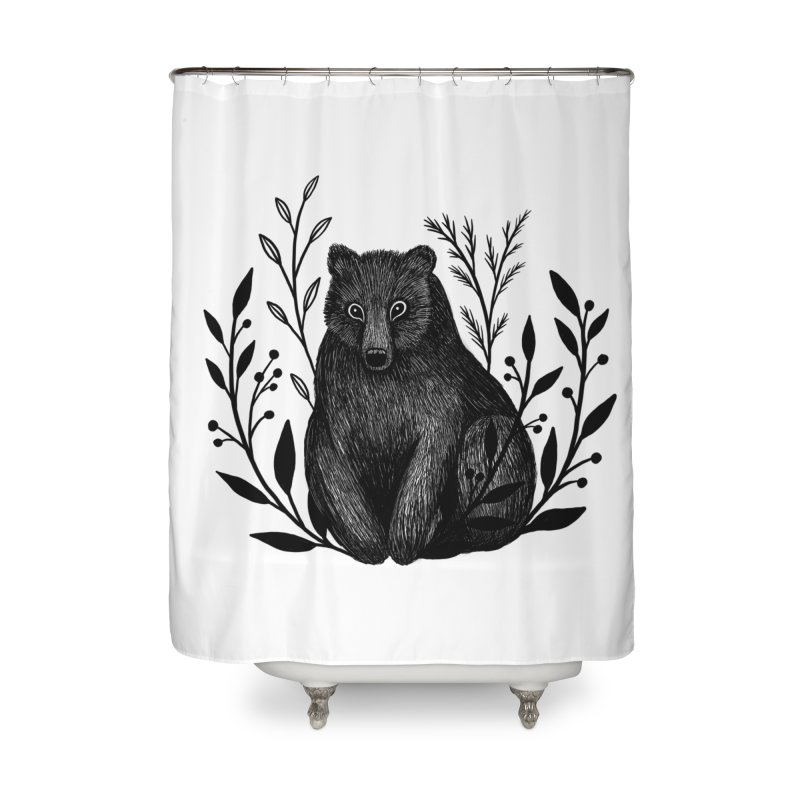 Botanical Bear Home Shower Curtain by Thistle Moon Artist Shop