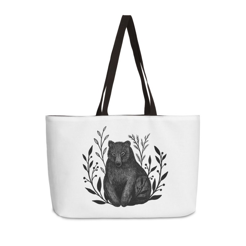 Botanical Bear Accessories Weekender Bag Bag by Thistle Moon Artist Shop