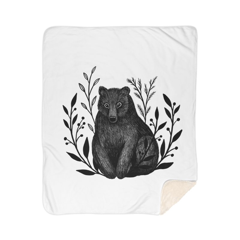 Botanical Bear Home Sherpa Blanket Blanket by Thistle Moon Artist Shop