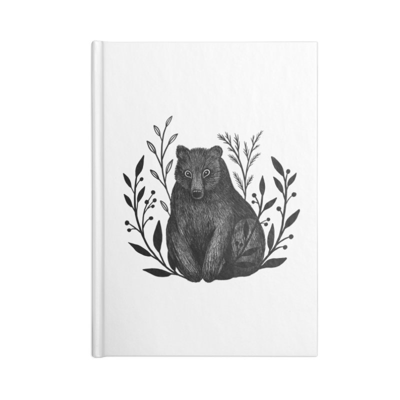 Botanical Bear Accessories Lined Journal Notebook by Thistle Moon Artist Shop