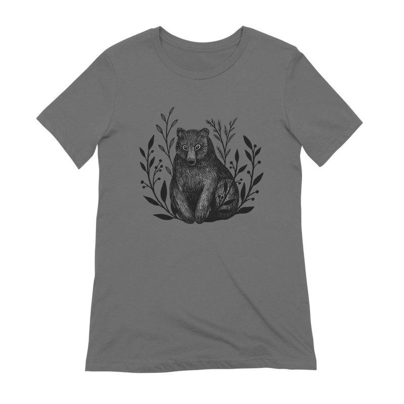 Botanical Bear Women's Extra Soft T-Shirt by Thistle Moon Artist Shop