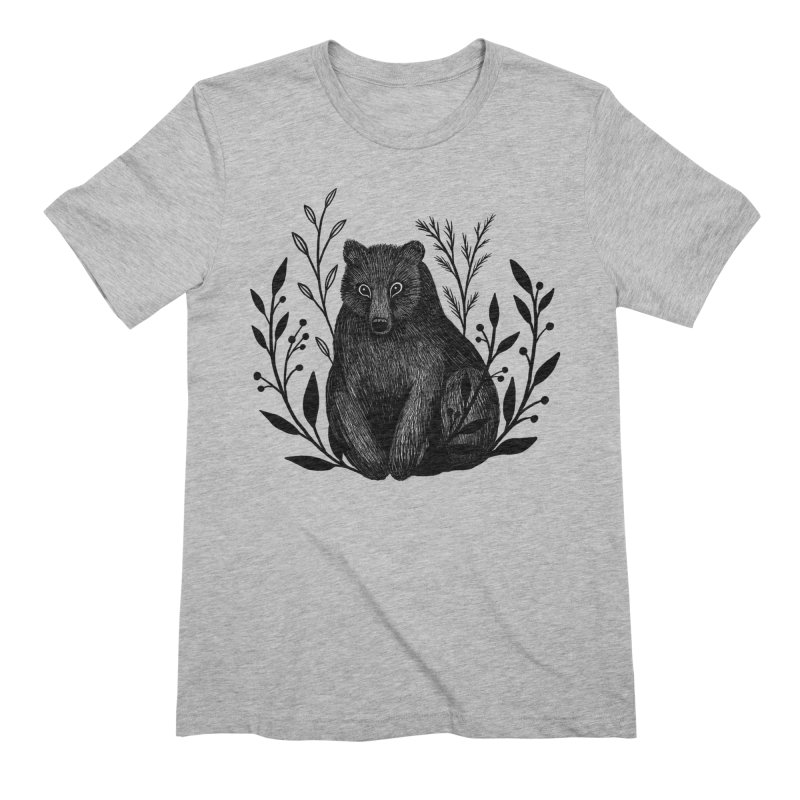 Botanical Bear Men's Extra Soft T-Shirt by Thistle Moon Artist Shop