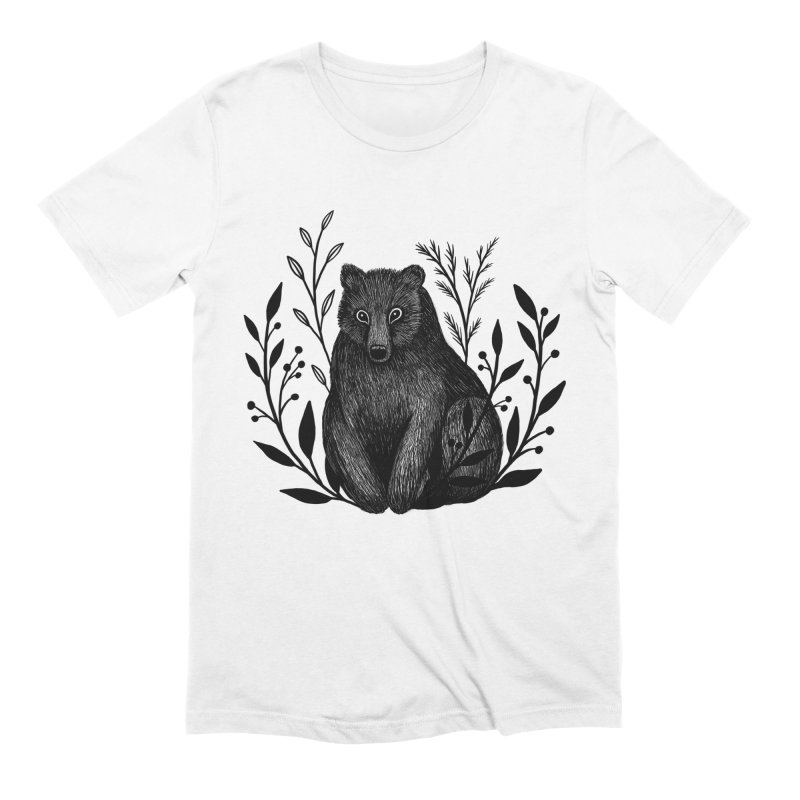 Botanical Bear Men's Extra Soft T-Shirt by Thistle Moon Artist Shop