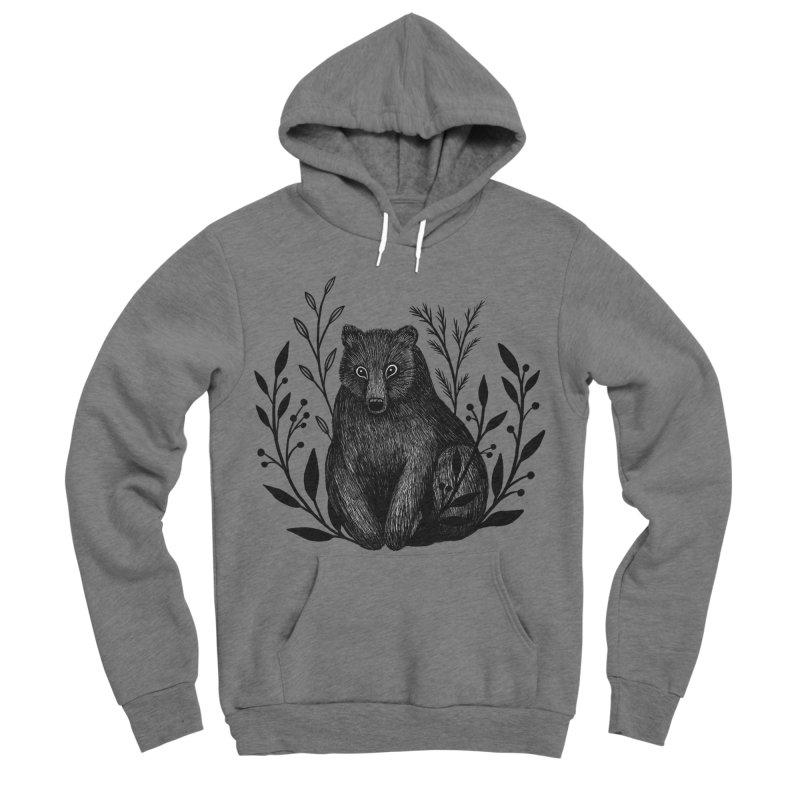 Botanical Bear Men's Sponge Fleece Pullover Hoody by Thistle Moon Artist Shop