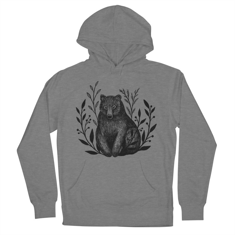 Botanical Bear Men's French Terry Pullover Hoody by Thistle Moon Artist Shop