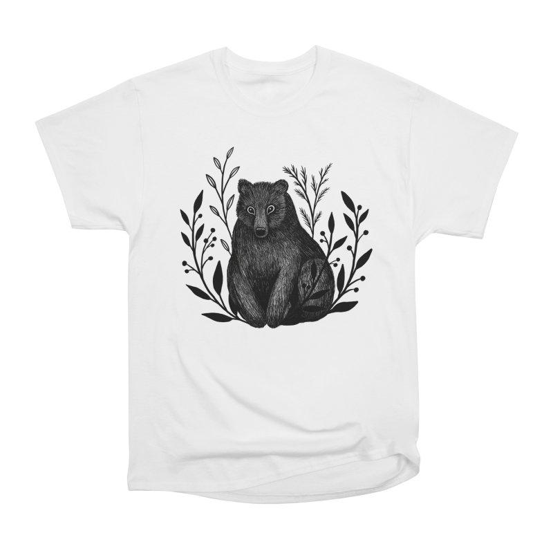 Botanical Bear Women's Heavyweight Unisex T-Shirt by Thistle Moon Artist Shop