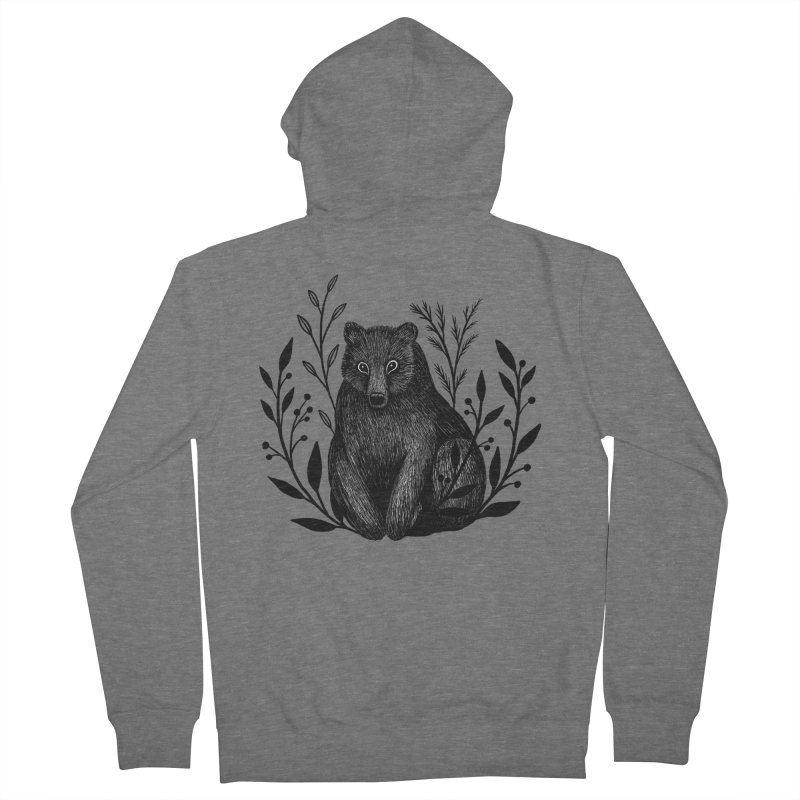 Botanical Bear Men's French Terry Zip-Up Hoody by Thistle Moon Artist Shop