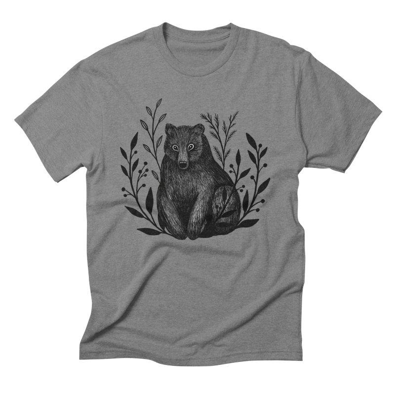 Botanical Bear Men's Triblend T-Shirt by Thistle Moon Artist Shop