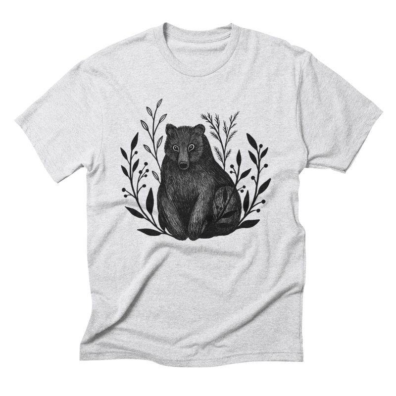 Botanical Bear Men's Triblend T-Shirt by Thistle Moon Artist Shop