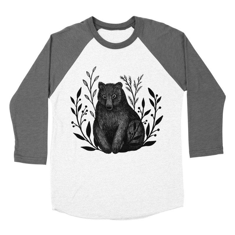 Botanical Bear Men's Baseball Triblend Longsleeve T-Shirt by Thistle Moon Artist Shop